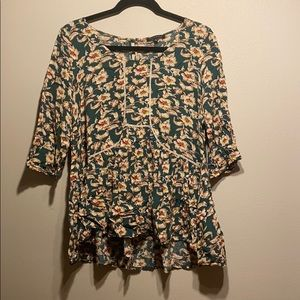 Boho Floral Blouse with Keyhole